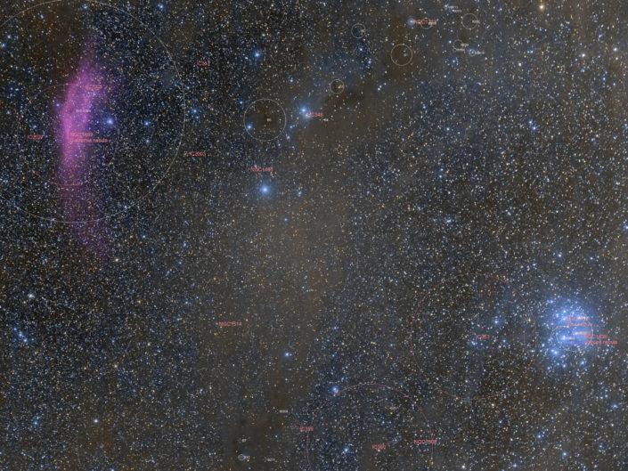 Messier 45 (Pleiades) and NGC 1499 (California Nebula), France, Banon, 2019