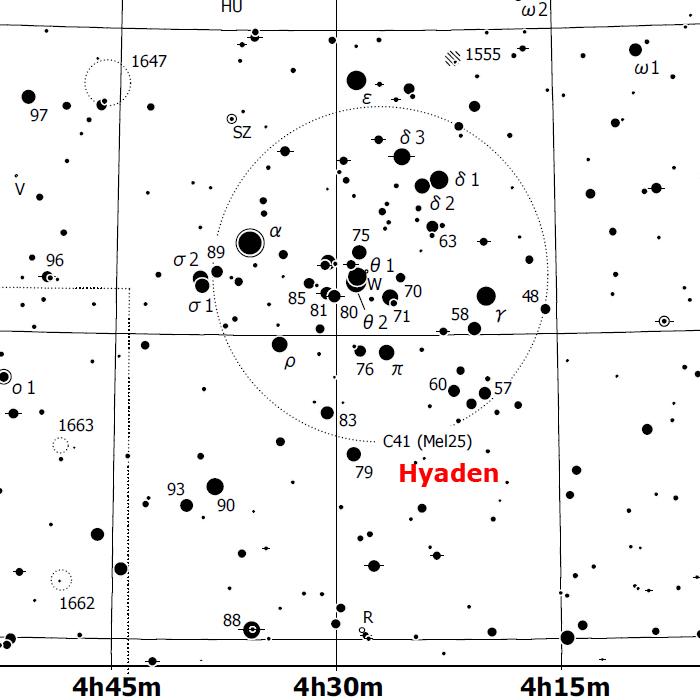 Hyades finder chart